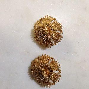 Monet gold Pom with tassel earrings